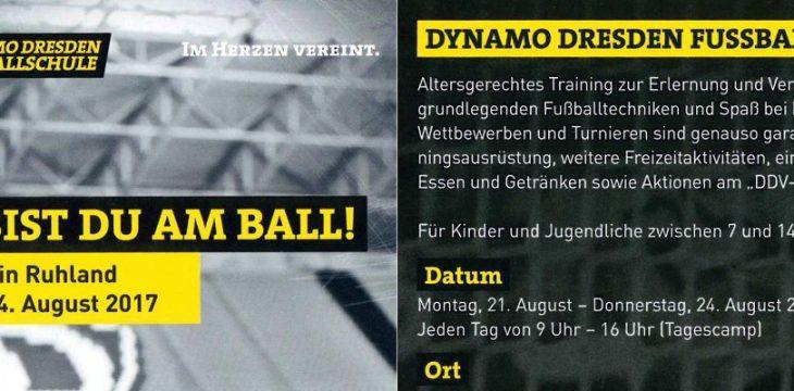 Trainingslager der Dynamo Dresden Fussballschule (21.08. – 24.08.2017) in Ruhland
